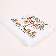 """Embroidered Table Runner / Easter Tree / White / 55""""x18"""" / 100% European Linen"""