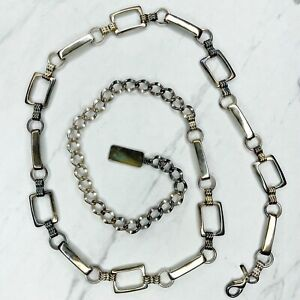 """Silver Tone Bar Open Rectangle Concho Belly Body Chain Belt One Size 30""""41"""""""