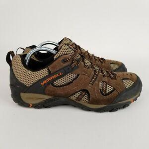 Merrell Yokota Mens 9.5 Stone Burnt Orange Hiking Shoes Low Brown Black Trail