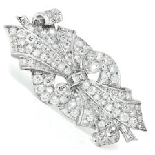 Vintage Art Deco Old Mine Cut Diamond Brooch Pin in Platinum 5.00ctw