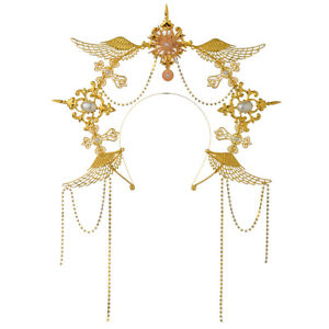 Women Headband Angel Wing Gold Halo Goddess Headpiece Virgin Mary Bride Headwear