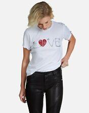 Lauren Moshi Safety Pin Love Tee White Tshirt Heart Sz XS Short Sleeve
