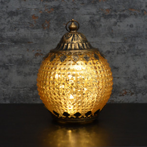 Moroccan Style Gold Patterned Glass LED Lantern Home Decor Gift New & Boxed