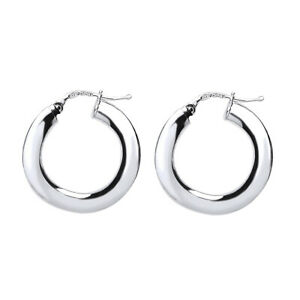 Jewelco London Silver Square Tube Polished Hoop Earrings 22mm 4mm