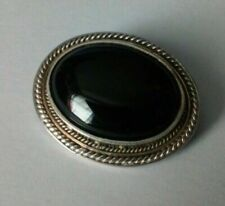 Vintage Sterling Silver & Black Onyx Oval Brooch 39.5*31.5mm Large Fast Delivery