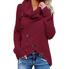 Autumn Womens Button Long Sleeve Sweater Sweatshirt Pullover Tops Blouse Shirt