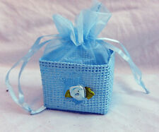 Blue Straw Basket Gift Box / Wedding / Party Favour / Mini Easter Egg Basket