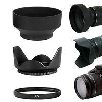 58MM Tulip Shaped & Soft Collapsible Lens Hood + UV Filter Lens Protector Kit