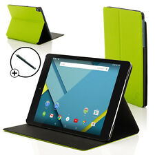 Leather Green Clam Shell Case Cover for HTC Google Nexus 9 With Stylus
