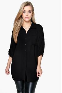 Plus Curve Black Oversized Long Line Dip Hem Shirt UK Size 22