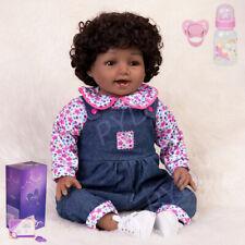 Lifelike Tan Skin African Girl Reborn Baby Vinyl Silicone Realistic Newborn Gift