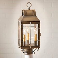 Country new MARTHA'S weathered brass outdoor post lantern light / nice