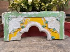 Ancient Old Marble Stone Hand Carved Floral Painted Jahrokha Window Panel
