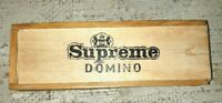 Vintage Supreme Black Domino's Wooden Box with Instructions - Complete set 28 -B
