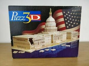 MB Puzz 3D US Capitol 718 Pieces 100% Complete Puzzle Toys Games Used