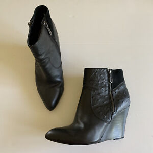 Mimco Black Leather Wedge Ankle Boots Alma Size 38