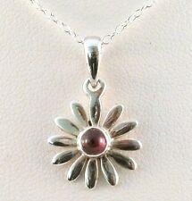 Handmade 925 Sterling Silver Daisy Pendant With Garnet Stone Sold WITHOUT chain