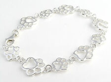 Beautiful 925 Sterling Silver Paw Print Bracelet With Gift Box - 7.5 inch / 19cm