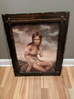 Vintage Joseph Allen Vinciata Girl of Valdarno Art Painting Naked Nude Woman