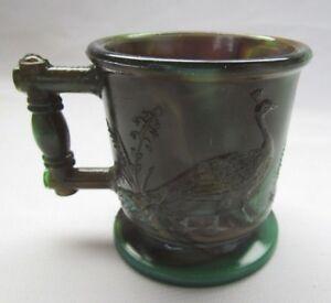BOYD ART GLASS CHILDS MUG CUP  (DARK GREEN BROWN SLAG) FIRST FIVE YEARS