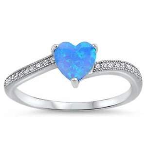 Heart Shaped Fire Blue Opal with Cubic Zirconia .925 Sterling Silver Ring