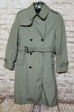 BRODEUR MJ Men Size 38L Long Trench Coat With Belt Long Sleeve Button Up 22