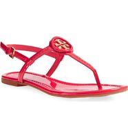 3846ddaeb529 New  225 Tory Burch Dillan Ruby Jewel Red Gold Patent Leather Flat Sandal 6