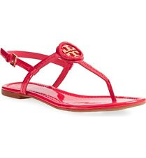 New $225 Tory Burch Dillan Ruby Jewel/Red/Gold Patent Leather Flat Sandal 6