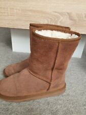 SPOTon Girl's Real Sude Leather & Real Fur Lining Brown Winter Boots Size uk2