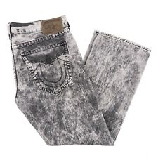 True Religion Ricky Jeans Straight Fit Mineral Marble Acid Wash Gray Men 42 x 33