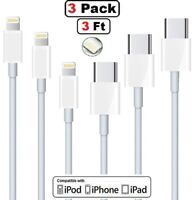 3Pack For iPhone 11 11Pro Max XS iPad USB-C to Lightning Cable Fast Charger Cord