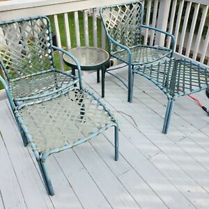 Brown Jordan Aluminum chairs and side table- Set of 5
