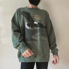 Vintage 90s American Bald Eagle Green Pullover Crewneck USA Sweatshirt L