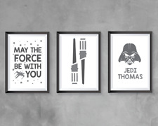 Star Wars | Home Decor - bedroom A4 Prints (x3) personalised | GREY | grey decor