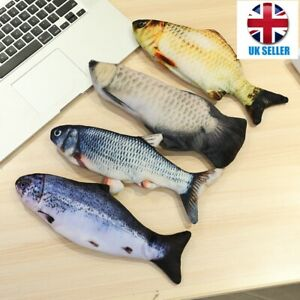 USB Electric Moving Cat Fish Interactive Pet Kitty Toy Wagging  Fish Plush uk