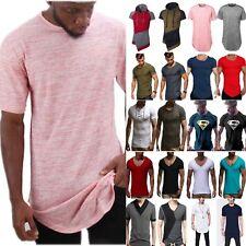 Mens Longline Curved Hem T-Shirt Top Street Casual Long Body Tee Tall Elongated