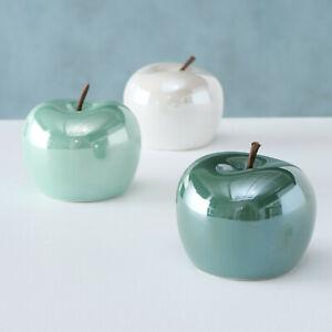 Glossy Metallic Ceramic Apple Fruit Mantle Decorative Standing Table Ornaments