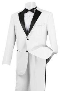 NEW Mens 2pc WHITE Classic Fit Formal Tuxedo Suit with Black Satin Lapel Trim