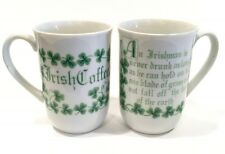 Irish Coffee Mugs White Cups Green Shamrocks Vintage 8oz. Set of 2