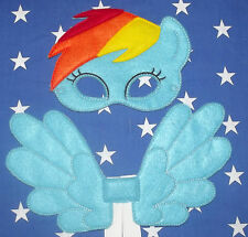 Handmade Kids Eye Mask and Small Wings Set - Rainbow Dash - My Little Pony