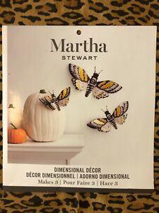 Martha Stewart Dimensional Halloween Moths Wall Decorations One set of 3
