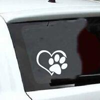 Lovely Pet Paw Print With Heart Dog Cat Vinyl Decal Car Window Bumper Sticker