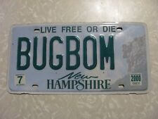 2000 NEW HAMPSHIRE LICENSE PLATE  FREE SHIPPING VANITY BUG BOM