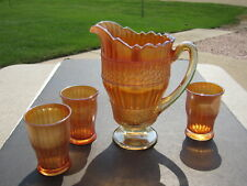 Antique Fenton Scale Band Carnival Glass Pitcher With 3 Tumblers