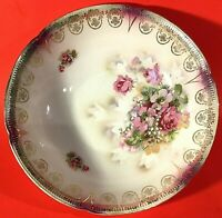 "GERMAN BOWL HAND DECORATED ANTIQUE 10""W RED ROSES GREEN LEAVES GOLD DESIGNS"
