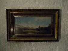 Schönes original Gemälde von Karl Schmidbauer Person mit Schafen am Teich