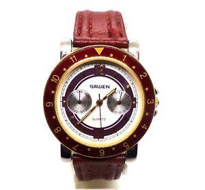 Vintage Men's GRUEN Watch w Day & Date  Red Leather Band GR3147 241-VX36 QZ MVMT