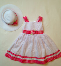 Girls' Youngland White Eyelet Pink Flower Ribbon Dress Hat  Size 3T -  NWT