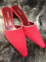 Burberry Heeled Slip-ons Red Gently Pre-owned US 7.5-8 Pre-Owned