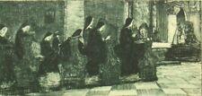Oskar Graf antique etching; Morning Prayer; Peterskirche, Salzburg; 1900's